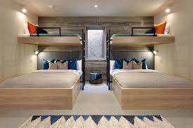 Two Bunk Beds Homebuilding Contemporary Bedroom Colour Schemes Denver