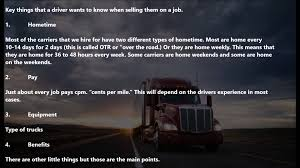 Truck Driving No Experience Truck Driver Recruiter Training Presenting The Job To Truck