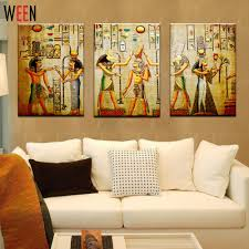 popular egyptian paintings buy cheap egyptian paintings lots from canvas painting triple abstract picture egyptian mural room modern decorative painting large art wall art print