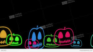 halloween animated background with cute little neon pumpkins stock