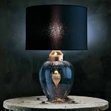 italian table lamp black lampshade transparent crystal glass with