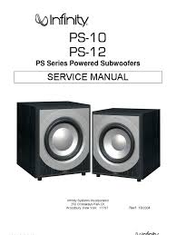 infinity ps 10 12 service manual amplifier loudspeaker