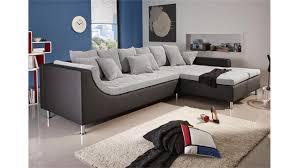 montego sofa montego sofa mit ottomane schwarz grau 6 rückenkissen