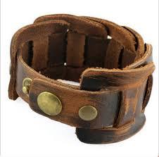 leather bracelet man images 10pcs brown genuine leather bracelet man fashion cowhide wristband jpg