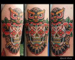 owl and skull designs