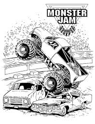 monster jam crushing cars coloring pages color luna
