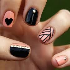 black and pink nail designs glitter nails pinterest