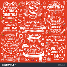 christmas decorations set holiday elements greeting stock vector