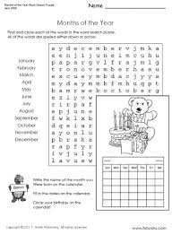 printable word search puzzles for 1st graders months of the year word search puzzle