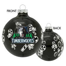 minnesota timberwolves candy cane ball ornament