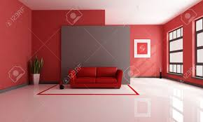 red and brown minimalist living room rendering the art picture