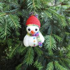 Amigurumi Christmas Ornaments - stuffed crochet snowman amigurumi christmas ornament tree decor