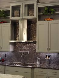 kitchen style hanging lights also metallic backsplash and