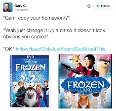 Homework Meme - frozen vs frozen land can i copy your homework know your meme