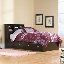 twin bed with drawers and bookcase headboard sauder 412093 shoal creek jamocha wood storage drawers bookcase twin bed