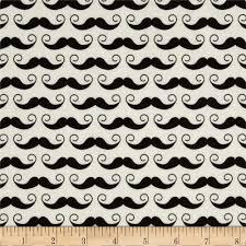 riley blake geekly chic mustache cream discount designer fabric