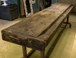 wood top work table long industrial work table with wood top and iron base from holland