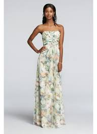 davids bridesmaid dresses strapless chiffon floral print dress with pleating david s bridal