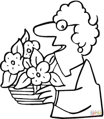 grandmother with a pot of flowers coloring page free printable
