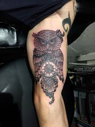 men bicep with amazing owl clock tattoo golfian com