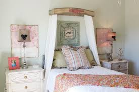 country shabby chic bedroom ideas curved padded headboard