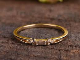 anniversary engraving baguette diamond ring yellow gold band diamond cluster ring stacking