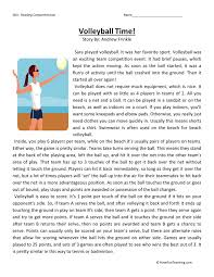 reading comprehension worksheet volleyball time volleyball