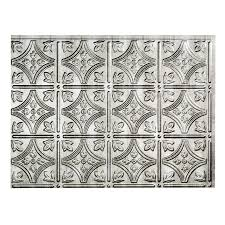 Shop Fasade In X In Cross Hatch Silver Thermoplastic - Stainless steel backsplash lowes