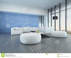 contemporary grey blue and white living room stock illustration