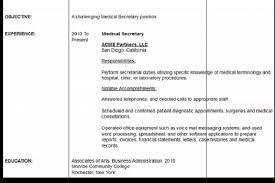 Sample Medical Secretary Resume by Secretary Resume For Doctors Reentrycorps