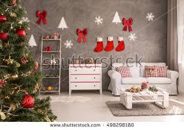 modern living room grey white christmas stock photo 498298348