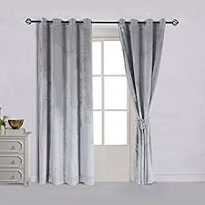 Silver Black Curtains Cynthia Rowley Silver Grey Vintage Velvet Pair Window