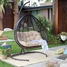 Patio Chair Swing Amazon Com Resin Wicker Hanging Egg Loveseat Swing Chair Indoor