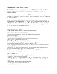 Sample Resume Objectives For Hospitality Industry by Catering Resume Samples Resume For Your Job Application