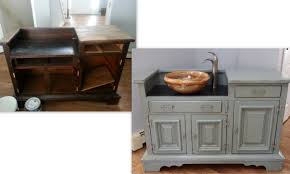 diy bathroom vanity dry sink to real sink hudson valley double