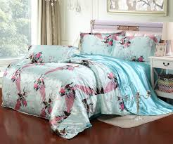 blue peacock bedding set luxury silk bedding duvet cover set twin