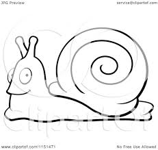 cartoon clipart of a black and white happy snail vector outlined
