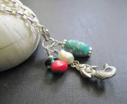green agate necklace images Sea mermaid green agate red coral pearl necklace vamps jewelry jpg