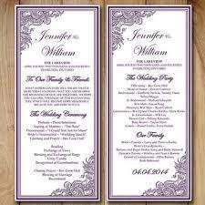 wedding ceremony programs template purple wedding program templates designs agency