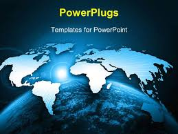Powerpoint World Map powerpoint template bright world map above globe with rising sun