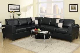 Reversible Sectional Sofas Poundex F7630 2 Pieces Black Faux Leather Reversible Sectional Sofa