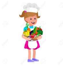 cuisine avec enfant enfant de caractère vecteur mignon et une alimentation saine fille