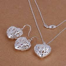 necklace bracelet earring ring images 925 silver solid ladies heart jewelry set fashion necklace jpg