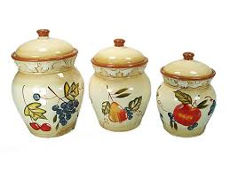 Fleur De Lis Canisters For The Kitchen D U0027lusso Designs Ceramic Fruit 3 Piece Kitchen Canister Set