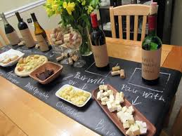 home wine tasting party ideas chalkboard table runner wine and