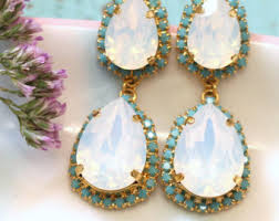 turquoise bridal earrings blue chandelier earrings turquoise bridal earrings blue