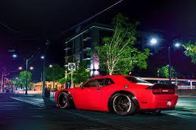 Dodge Challenger Wide Body - dodge challenger srt red stance car street wide body rear hd wallpaper