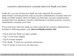 thank you letter examples interview executive administrative assistant