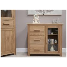 Cd Cabinet Nero Solid Oak Furniture Small Glazed Sideboard Cd Dvd Storage
