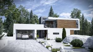 small neutral color with interior and exterior modern home design